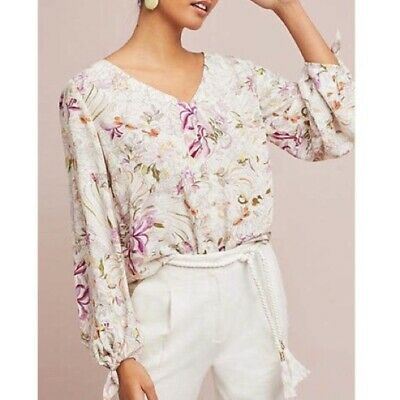 $ CDN42.16 • Buy Maeve Anthropologie Pernille Cream Floral Peasant Top Blouse Size XS Oversized