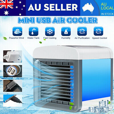 AU24.69 • Buy Portable Mini Air Conditioner Water Cool Cooling Fan LED Cooler Humidifier USB