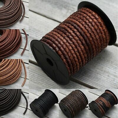 £5.49 • Buy 6mm Or 8mm Real Braided Leather Cord Bolo Round Lace Brown Black Woven Thong