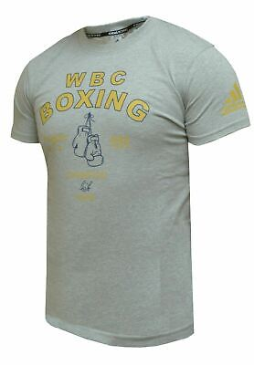 Adidas WBC Boxing Gloves T-Shirt Grey Black Gym Casual Tee 100% Cotton Mens • 19.99£