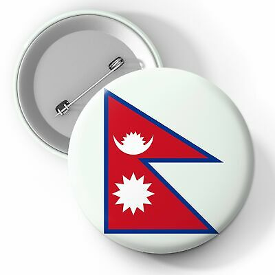 Nepal National Flag Button Pin Badge 25mm 45mm 58mm Badge, Flags, Nepal • 2.29£