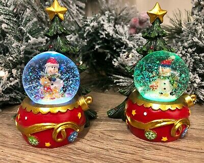 Colour Changing LED Snowman Snow Globe With Christmas Tree  • 12.95£
