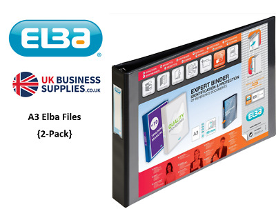 Elba Vision Ring Binder PVC Clear Front Pocket 4 D-Ring A3 Landscape 40mm Black • 24.99£