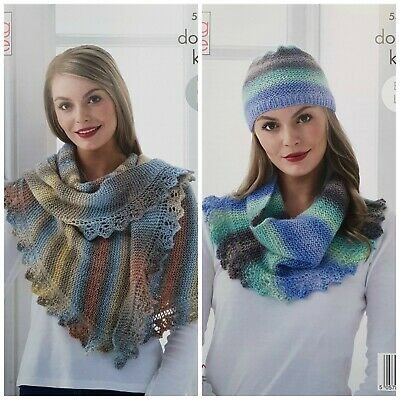 KNITTING PATTERN Ladies Easy Lace Shawl/Wrap, Hat & Cowl DK King Cole 5400 • 3.95£