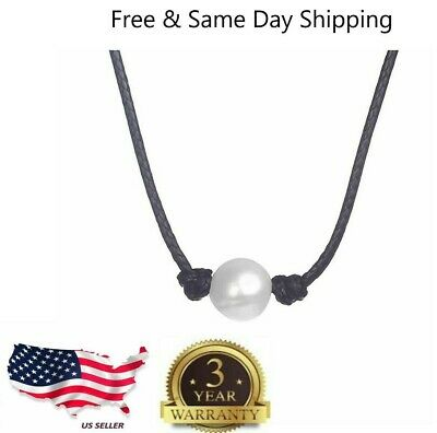 $2.99 • Buy Women Pearl Necklace Genuine Leather Cord Choker Jewelry