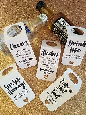 £5.50 • Buy Personalised Alcohol Wedding Favour Gift Tags Miniature Bottle Label Thank You