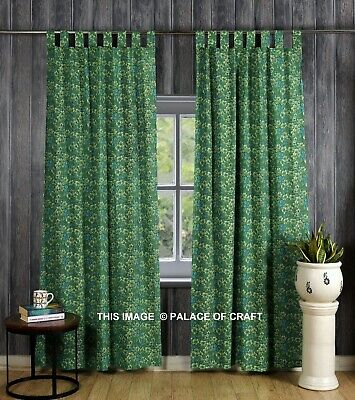 £24.99 • Buy Ethnic Bohemian Cotton Door Curtain Green Floral Design Room Decor Drapes Hippie