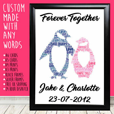 Personalised Penguins Anniversary Special Love Gifts For Him Her 1st 5th 10th • 4.49£