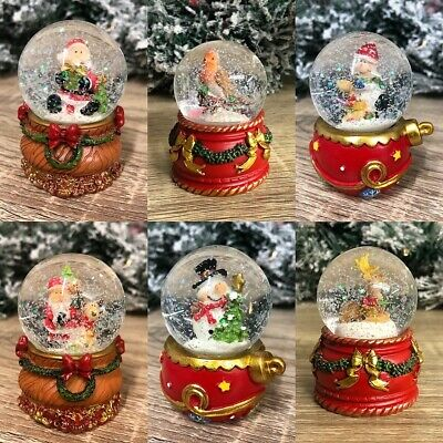 Small Christmas Snow Globe Xmas Decoration Santa Snowman Reindeer Robin • 7.95£