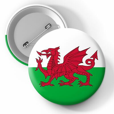 Wales National Flag Button Pin Badge 25mm 45mm 58mm Badge, Flags, Wales • 2.29£