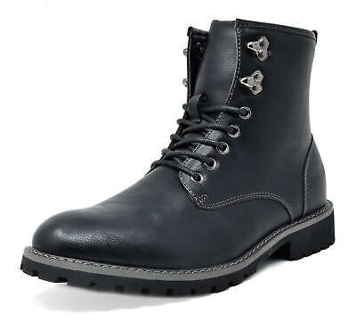 $15.19 • Buy Bruno Marc Mens Lace Up Motorcycle Combat Boots Oxford Leather Dress Ankle Boots