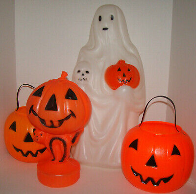 $ CDN94.67 • Buy 4 Vintage Blow Molded Plastic Halloween Items, Empire Lighted Ghost
