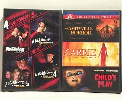 Nightmare On Elm Street 1-4, The Amityville Horror/Carrie/Child's Play (DVD) • 11.80£
