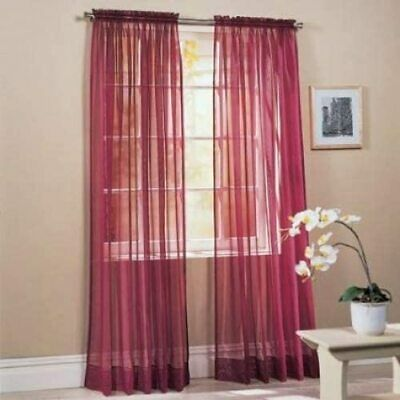 $6.50 • Buy Sheer 2Pc Window Treatments Curtain Panels 84  Inch Long  Polyester (10+ Colors)
