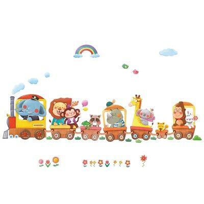 DECOWALL Animal Train & Hot Air Balloons Nursery Wall Stickers DL-1406AL • 17.45£
