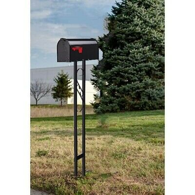 $67.82 • Buy Outside Mailbox With Post Stand All-in-One Decor Combo Galvanized Steel Black