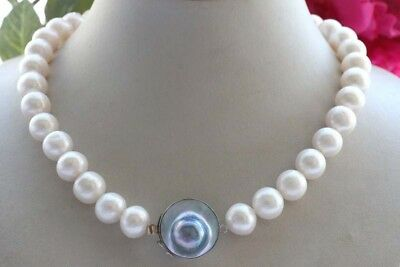 $249.99 • Buy 17.5  Natural 13mm Round White Pearl Necklace 925silver Mabe Pearl Clasp #f2022!