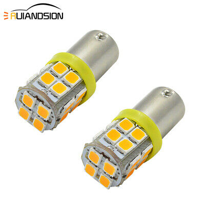 AU3.99 • Buy 2pcs Amber Yellow BAX9S H6W 2835 20 LED Indicator Dash Light Side Bulb Globe 12V