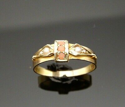 Antique Late Victorian Coral ,seed Pearl & Gold Ring 15ct 1900 • 345£
