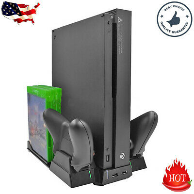 Vertical Stand Cooling Fan 2×Controller Charging Dock Game Holder For Xbox One X • 27.25$