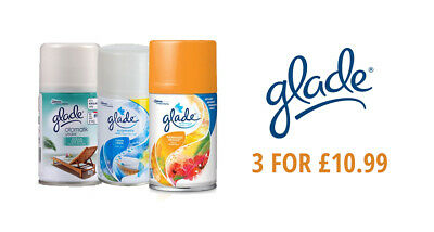£10.99 • Buy 3 X GLADE AUTOMATIC SPRAY AIR FRESHENER REFILL 269ml VARIOUS SCENTS!