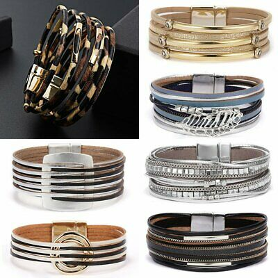 Fashion Boho Multilayer Leather Bracelet Magnetic Clasp Bangle Crystal Wristband • 2.65£