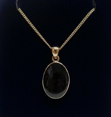 Fine Whitby Jet Pendant 9ct Yellow Gold - Length 26 Mm - Chain 18 Inch - 5.2 G • 250£