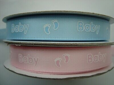 £1.85 • Buy Satin Baby Ribbon With Baby Feet 12mm Wide - Pink Or Blue - Various Lengths