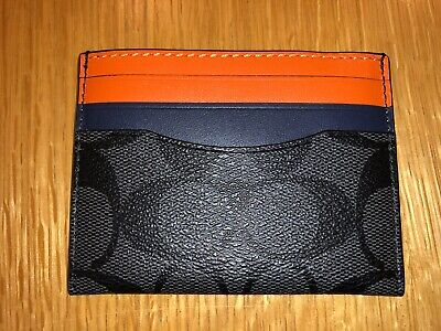 £34.99 • Buy Genuine New Coach Leather Card Holder Wallet Purse Orange Grey Gift Box RRP $78