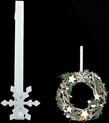 Metal Christmas White Snowflake Wreath Door Hanger Festive Hook Decoration 30cm • 5.99£