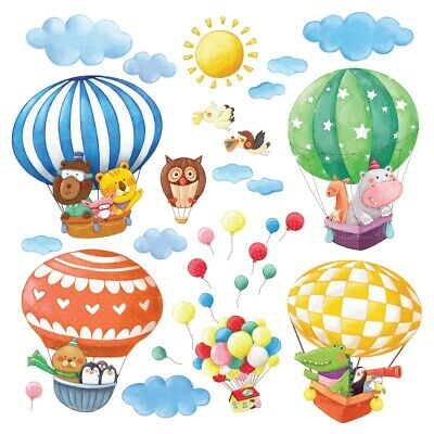 DECOWALL Animal Train & Hot Air Balloons Nursery Wall Stickers DL-1406BL • 17.95£