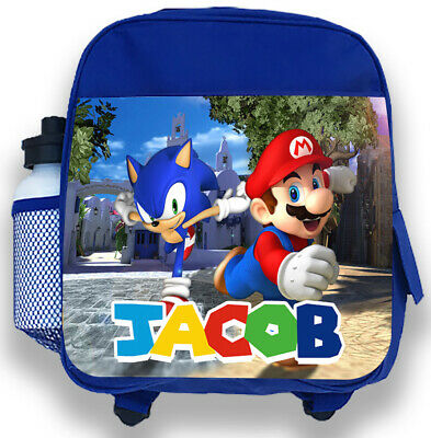 Personalised Kids Blue Backpack Any Name Sonic Mario Boys Childrens School Bag • 14.99£
