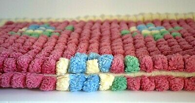 $ CDN39.42 • Buy 3 Vintage Hand Crafted Pom Pom Rugs Pink Ivory W/ Green & Blue Hand Made