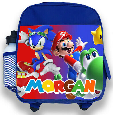 Personalised Kids Blue Backpack Any Name Sonic Mario Boys Childrens School Bag 3 • 14.99£