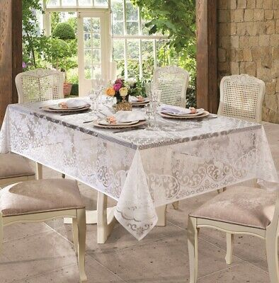 $17.99 • Buy White Lace Tablecloth With Classic Victorian Pattern In Round Or Rectangle