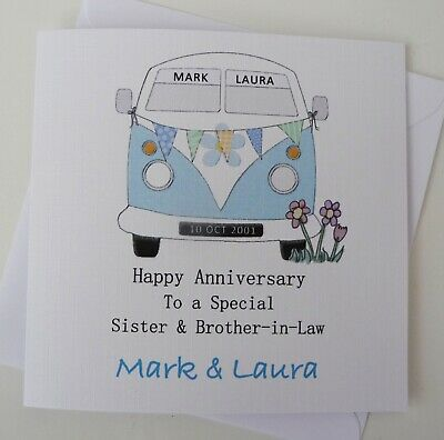£3.50 • Buy Personalised Anniversary Card Engagement Wedding Day Card Campervan Handmade