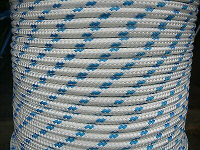 AU33.45 • Buy 8MM Double Braided Rope Polyester Yacht Rope 40MTS White Blue