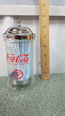 $12.74 • Buy Vintage  COCA COLA Glass Straw Dispenser With Chrome Plated Metal Lid   Remake