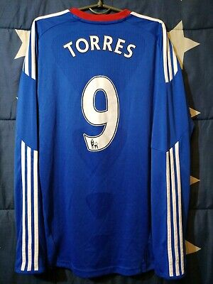 Size M Chelsea 2010-2011 Home Football Long Sleeve Shirt Jersey Torres #9 • 95£