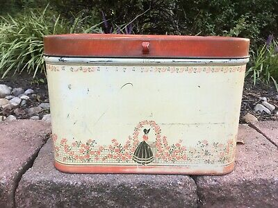 $45 • Buy Vintage Tin Bread Box Hinged With Flower & Victorian Lady Design