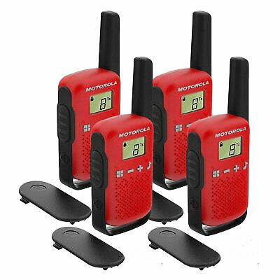 £47.99 • Buy 4 X Motorola TALKABOUT T42 Quad Pack Two-Way Radios In Red PMR 446 Compact