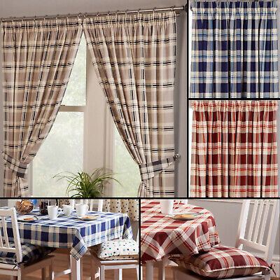 £18.99 • Buy Chelsea Checked Tartan 100% Cotton Kitchen Curtains With Optional Accessories