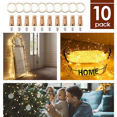 10X Wine Bottle Lights LED Cork Shape Wire Fairy String Lights DIY Party Decor • 9.59£