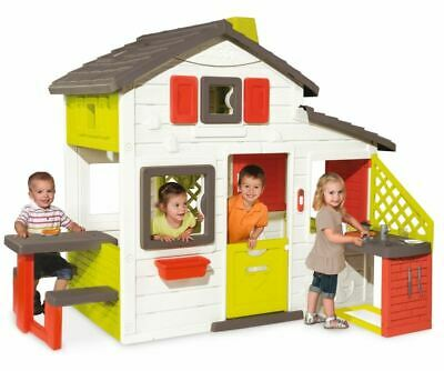Childrens Playhouse Smoby Friends Kitchen Wendy House Kids Picnic Table • 344.95£