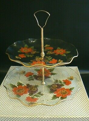 Vintage Chance Glass Floral 2 Tier Glass Cake Stand Original Label Original Box • 18£