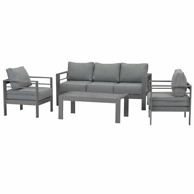 AU369.99 • Buy New Outdoor White Charcoal Aluminium Sofa Lounge Setting Garden Set Arms Chairs