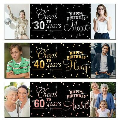 2 Personalised Birthday Banner Photo Silver Gold Rose Gold Party Wedding Poster • 6.49£
