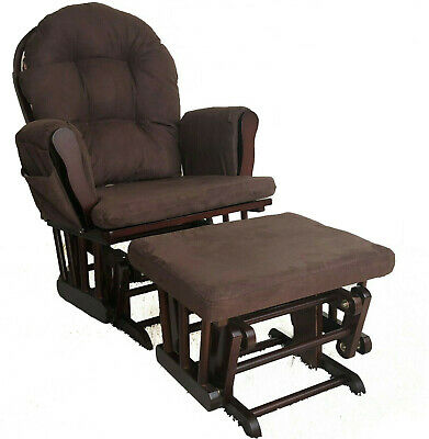 Brown Maternity Nursing Glider Rocking Chair Gliding With Stool Wood Frame  • 159.95£