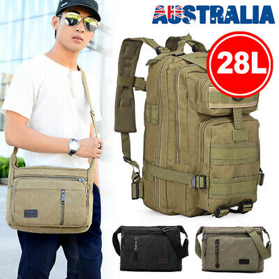 AU21.90 • Buy Men's Canvas Shoulder Military Bag Crossbody Backpack Travel Hinking Camping