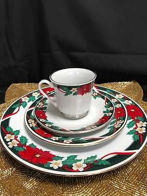 $16.99 • Buy Four Piece Setting TIENSHAN Fine China- Deck The Halls Christmas Dishes (J, K)